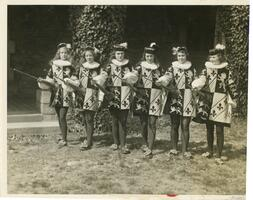 Students dressed as heralds for Big May Day parade, 1932