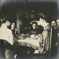 Students sharing tea, 1904