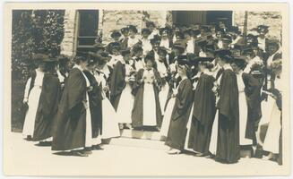 Graduating students on Taylor steps