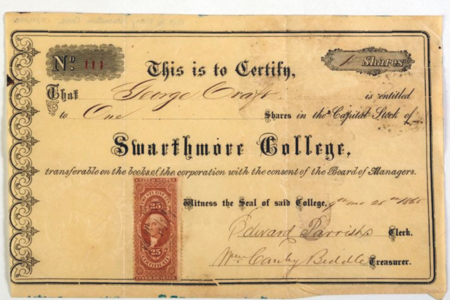 Historical stock certificate granting one share in Swarthmore College