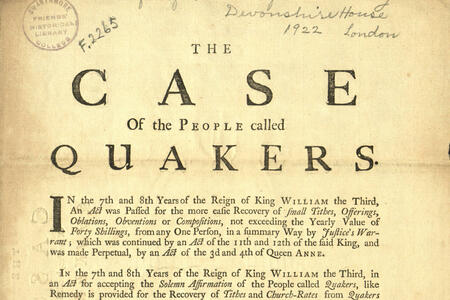 """A broadside titled """"The Case for the People Called Quakers"""""""